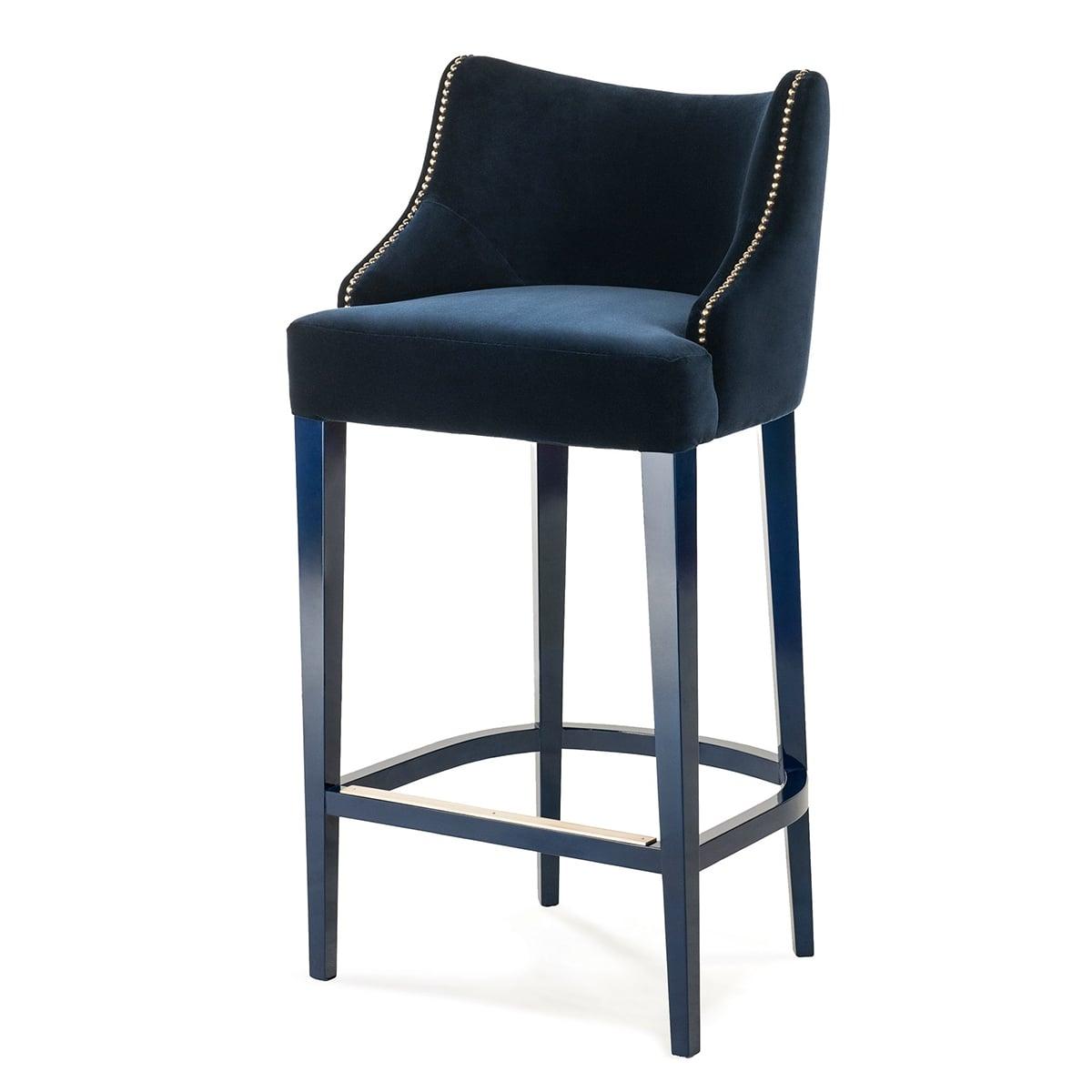 bar stool chair light gray designer velvet becomes me swanky interiors