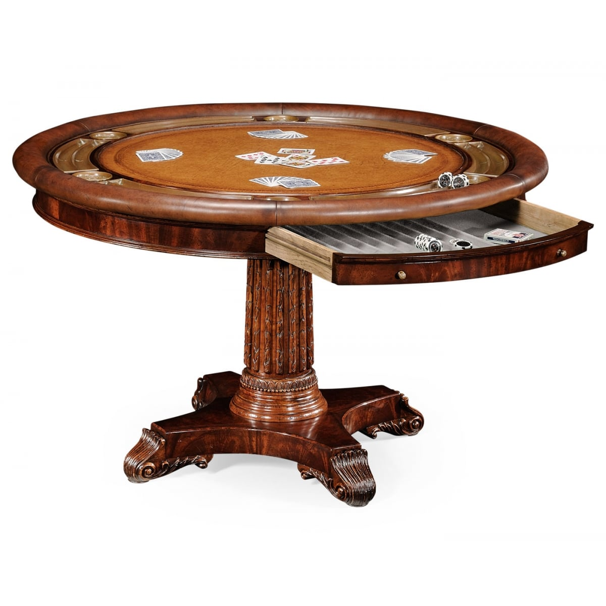 round card table and chairs portable travel high chair mahogany poker swanky interiors