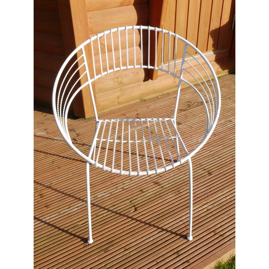 retro metal garden chairs leather dining pottery barn buy atomic chair white hoop