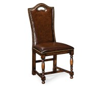 Oak High Back Leather Side Dining Chair | Swanky Interiors