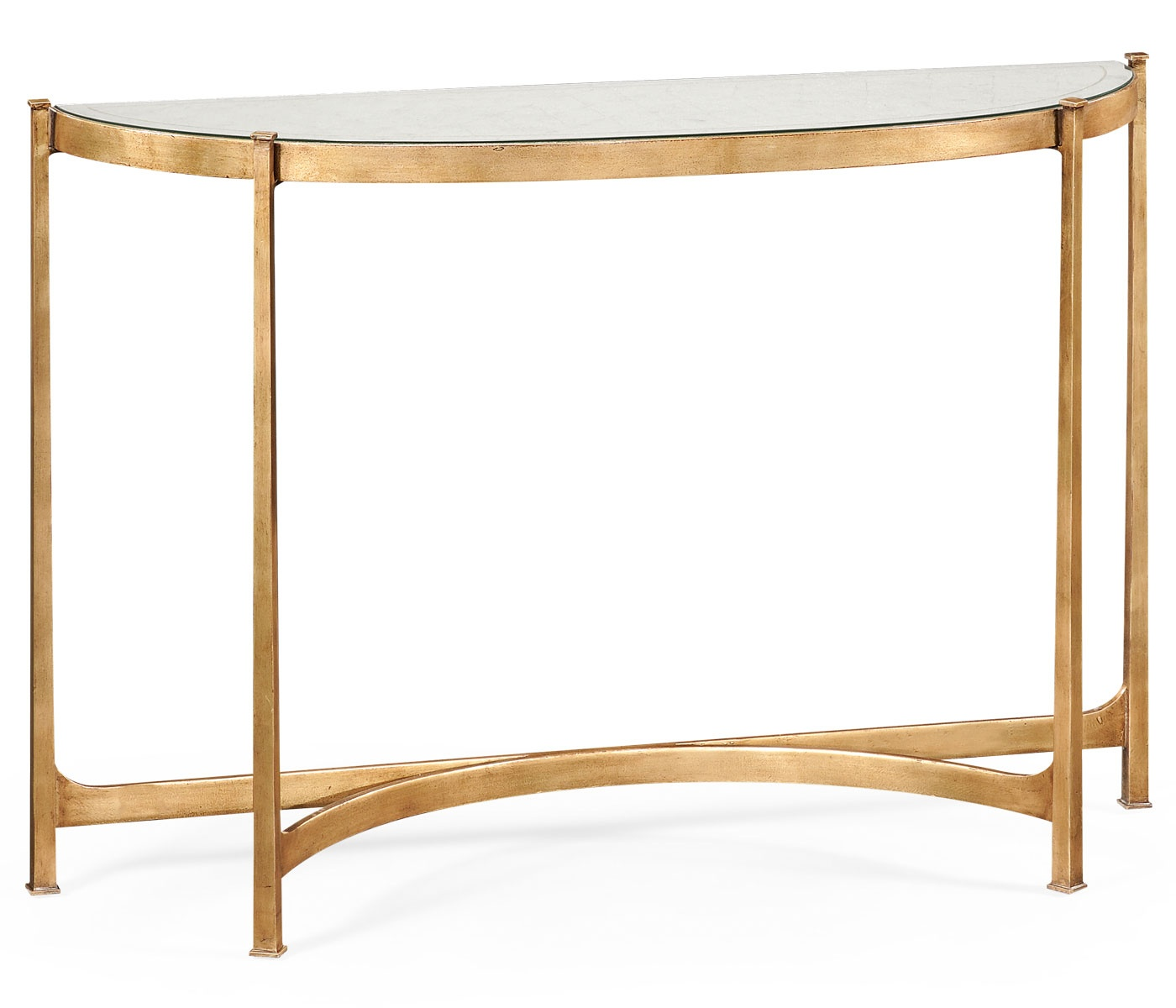 gold glass sofa table build a irvine reviews french demilune console swanky interiors