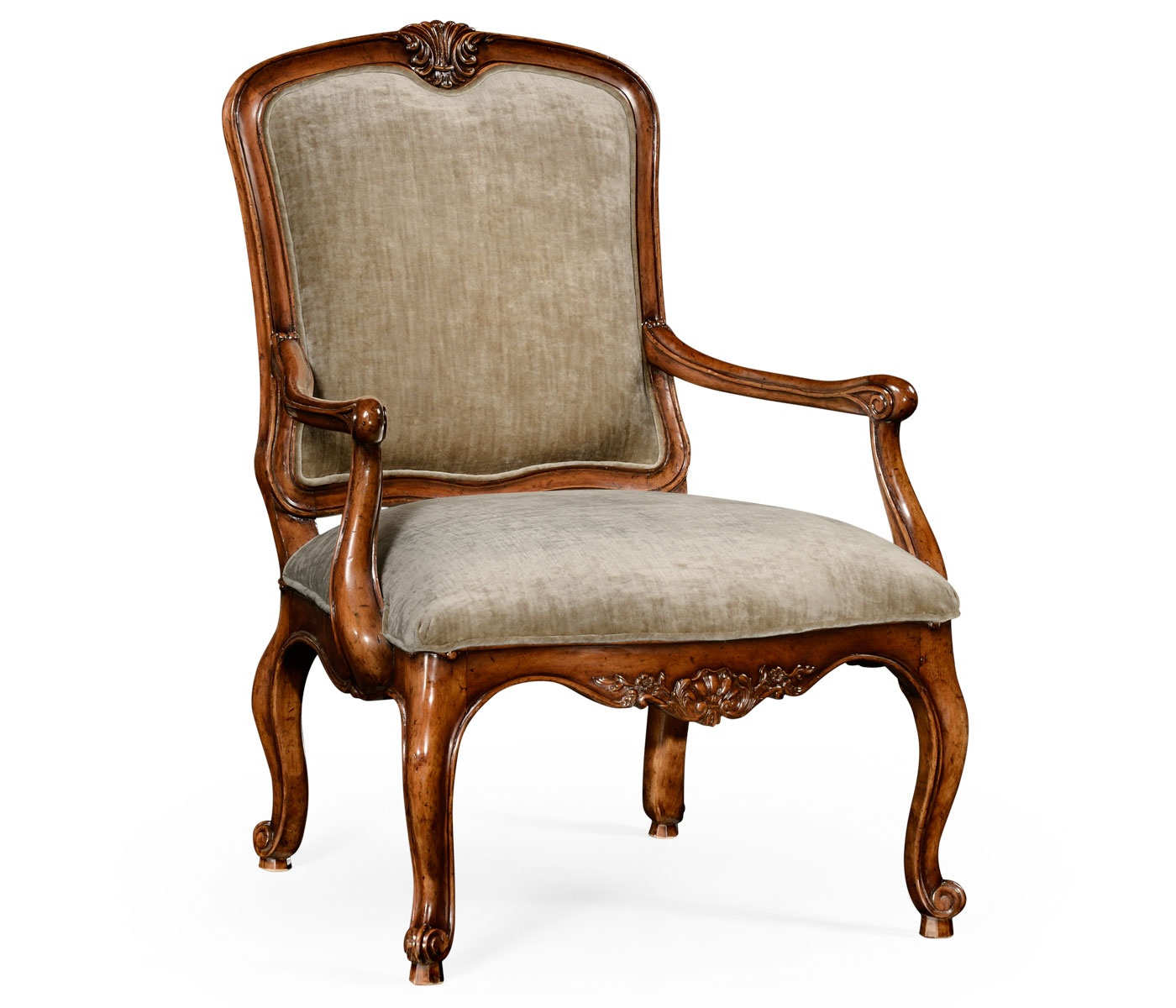 french velvet chair contemporary club chairs style walnut armchair swanky interiors