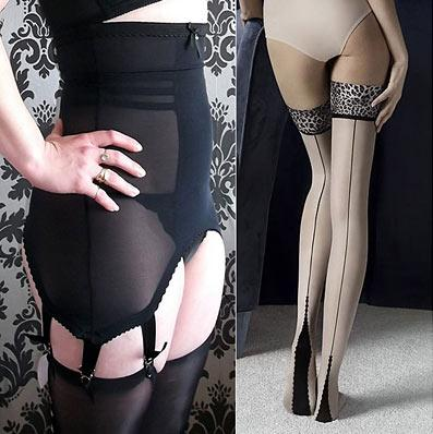 Retro Girdle with Leopard Print Seamed Stockings