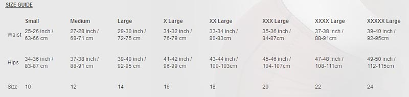 size guide for revival lingerie