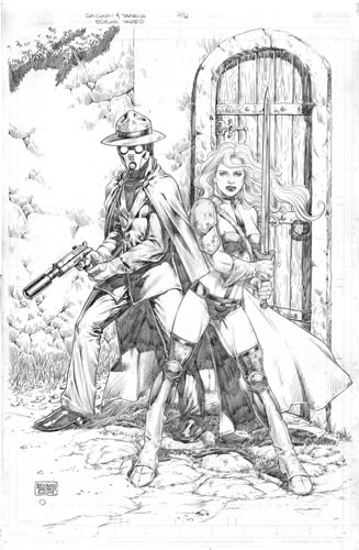 The Sandman and Taarna, pencils by comics artist Edgar Tadeo