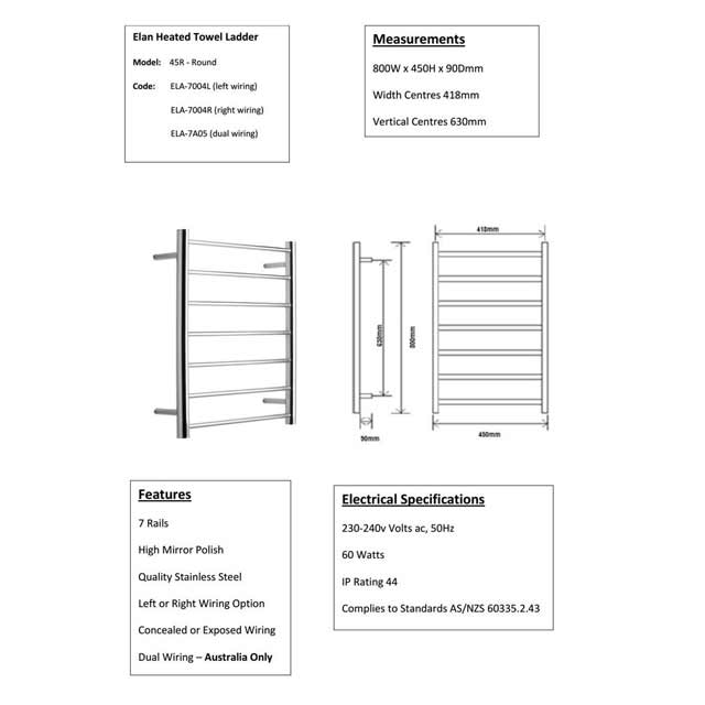 hight resolution of alexander heated towel rail rack 7 bar bathroom clothes ladder warmer elan 45r ela 7a05