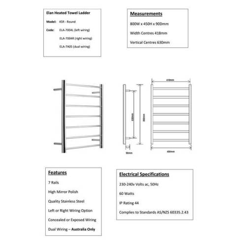 small resolution of alexander heated towel rail rack 7 bar bathroom clothes ladder warmer elan 45r ela 7a05
