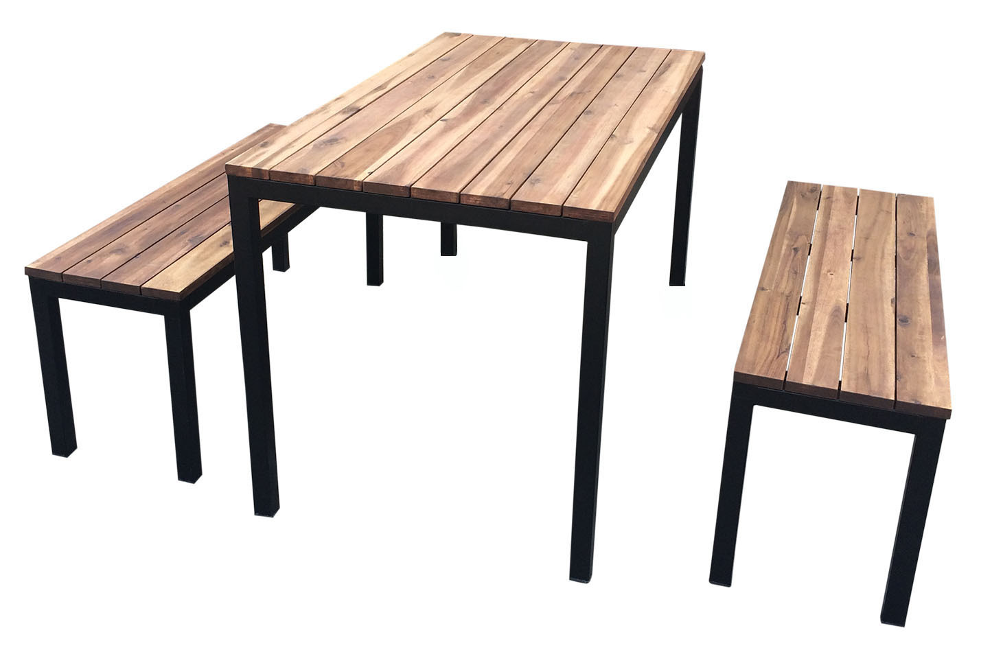 Dining Table And Bench Seats Galvanised Powder Coated Black 1800mm Wide Setting Beer Garden Outdoor