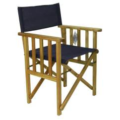 Directors Chair Outdoor Furniture Tri Fold Beach Lounge New Timber Frame Navy Blue Deck Folding