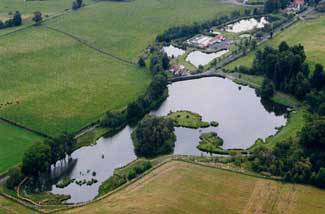 Aerial view of Swanswater and the ponds