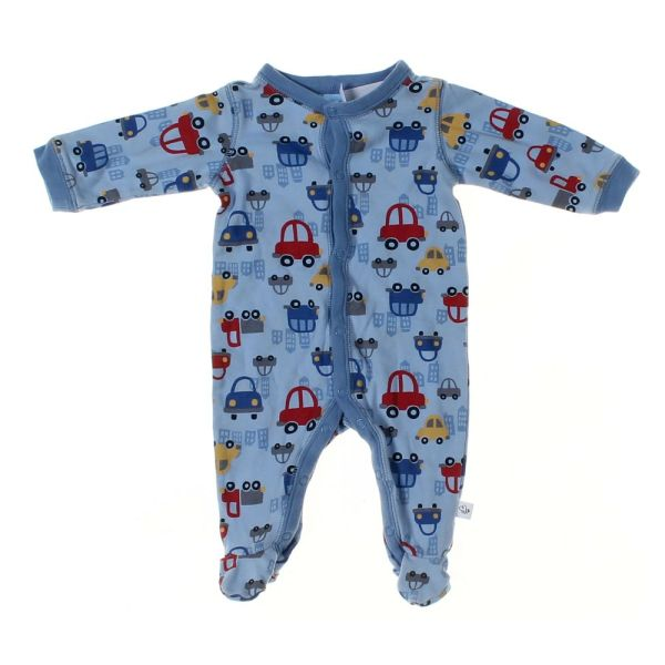 Moments Baby Boys Footed Pajamas Size 3 Mo Light Blue Cotton