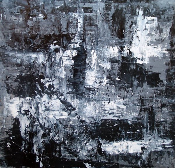 Black And White Abstract Art Monochromatic Painting