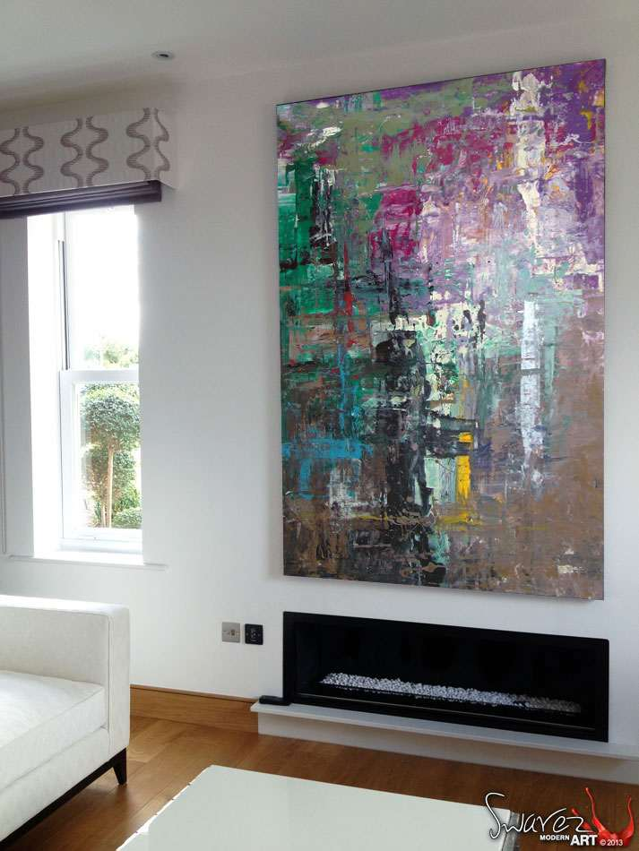 Gerhard Richter inspired style abstract art painting now sold
