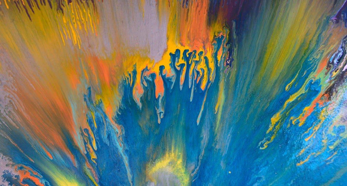 Big round painting  Coronal Mass  Sun inspired original art
