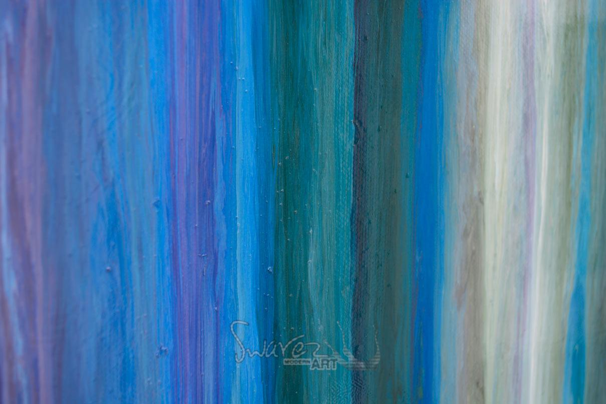 Blue stripey painting  Art with straight lines  Earth greens