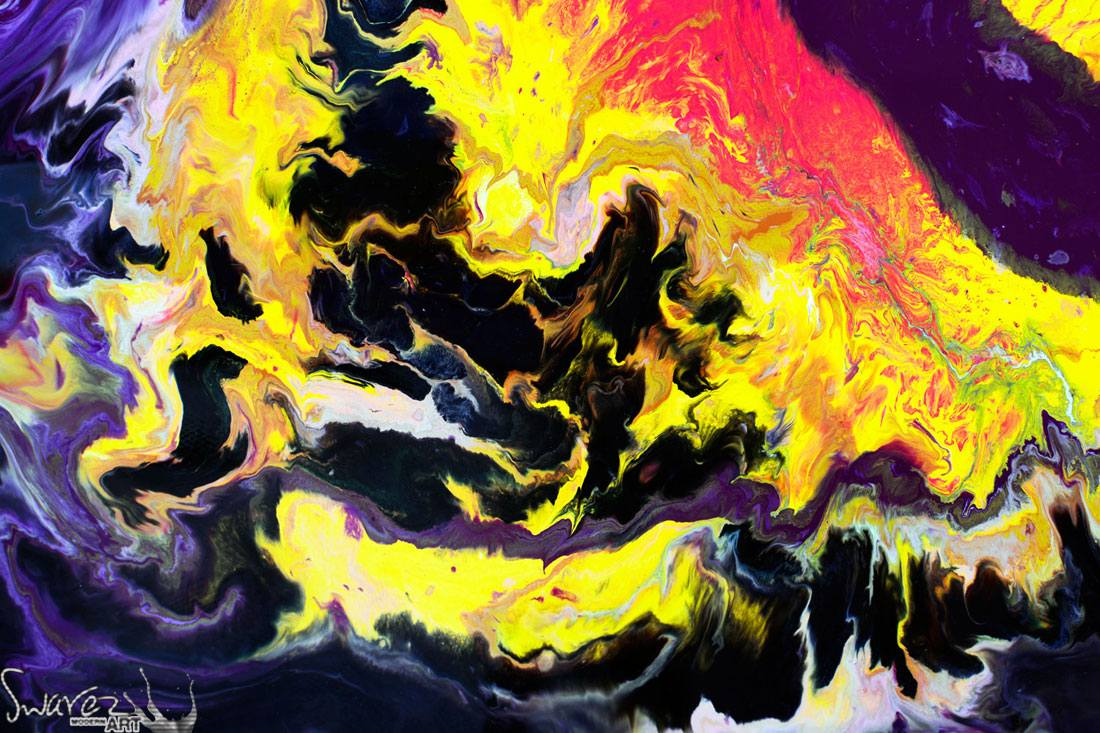 Fluid Purple And Yellow Abstract Painting Original Art