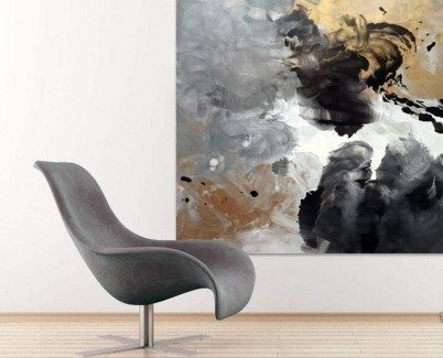 Black and gold art  Aces High abstract painting by Swarez
