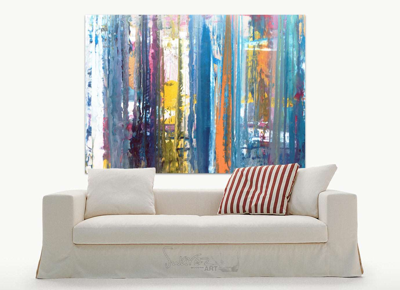 hanging chair loveseat office chairs target au large blue original linear themed painting cobalt sunset