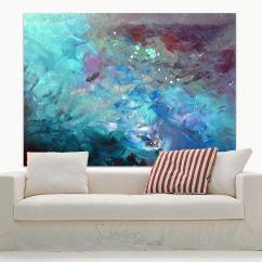 Above Sofa Artwork Average Cost Of A Good Leather Blue Turquoise And Purple Contemporary Art Bpainting