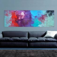Sofa Paintings Abstract Sectional Microfiber Modern Turquoise Art Featuring Purple Red And Blue