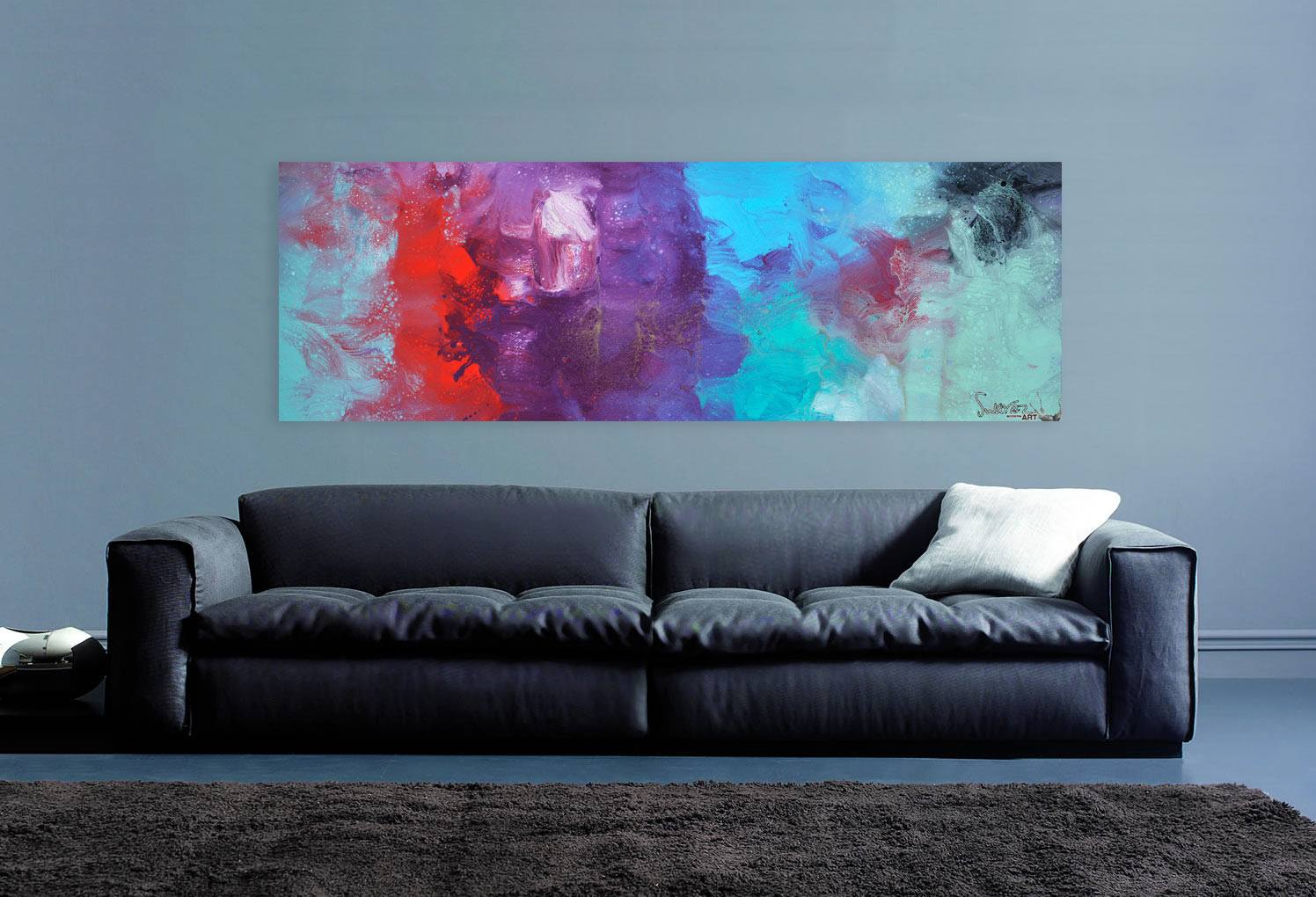 above sofa artwork leather sofas in dallas tx turquoise abstract art featuring purple red and blue