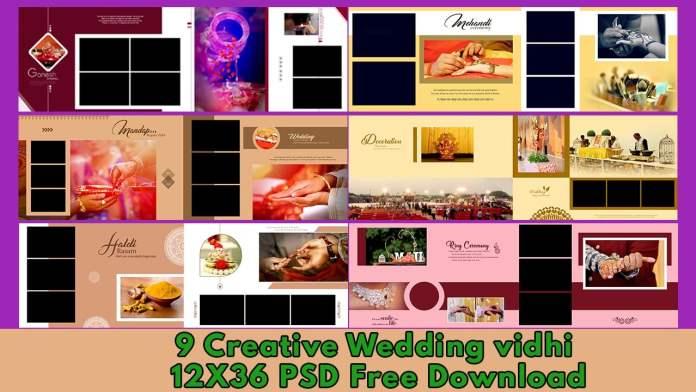 9 Creative Wedding Album Vidhi PSD 12X36 Free Download