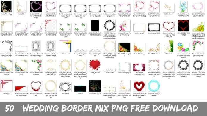 50+ Wedding Border Mix Png Free Download