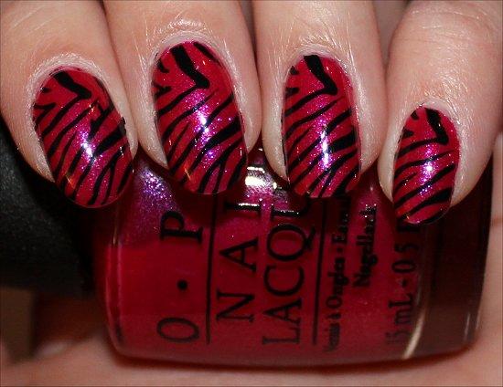 Easy Zebra Nail Art Pink Black Nails