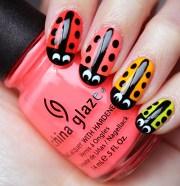 nail art neon ladybug nails