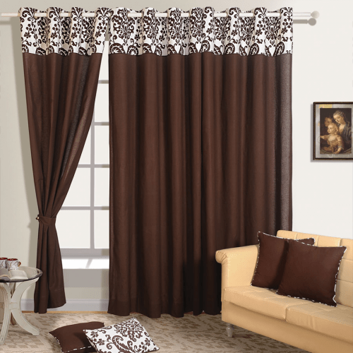Buy Dark Brown Color Solid Curtains Online with Readymade