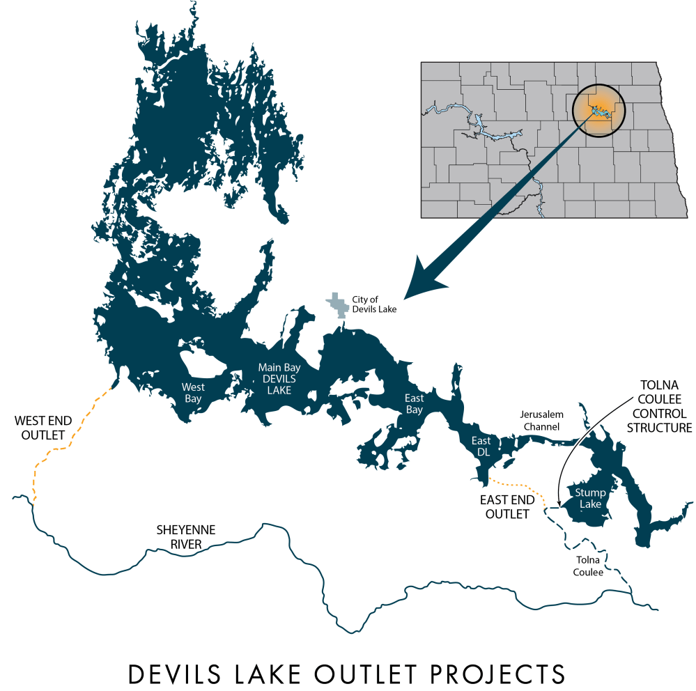medium resolution of a map of the devils lake outlet projects