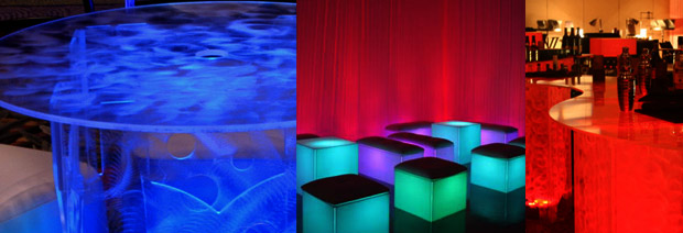 Rent Lighted Acrylic Cocktail Tables Bars Lounge Furniture LED