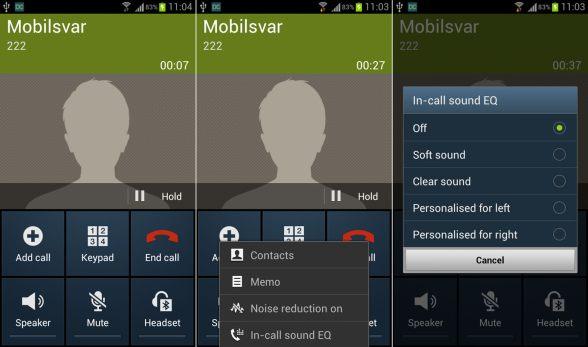 Samsung Galaxy S III in call EQ