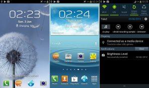 Samsung Galaxy S III lock- and home screen and notification bar