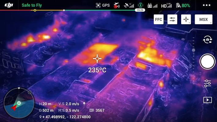Mavic 2 Enterprise Dual Spot Meter mode that can measure temperatures