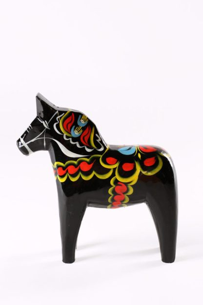 Dala black wooden horse
