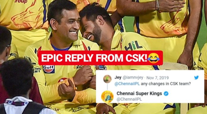 Chennai Super Kings reply to fan