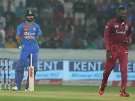 Virat Kohli gives a befitting reply to Kesrick Williams in first T20I vs West Indies at Hyderabad, virat kohli, virat kohli images, virat kohli hd images,