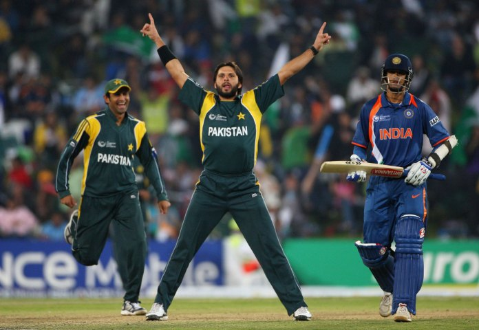 Shahid Afridi celebrating the wicket of MS Dhoni in Champions Trophy 2009 at Centurion, 2009: ICC