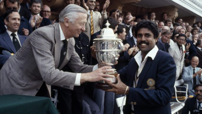 Kapil Dev with 1983 World Cup Trophy, India 1983 World Cup