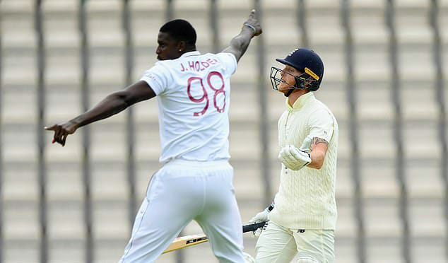 Jason Holder celebrating after taking wicket of Ben Stokes, Jason holder and ben stokes test