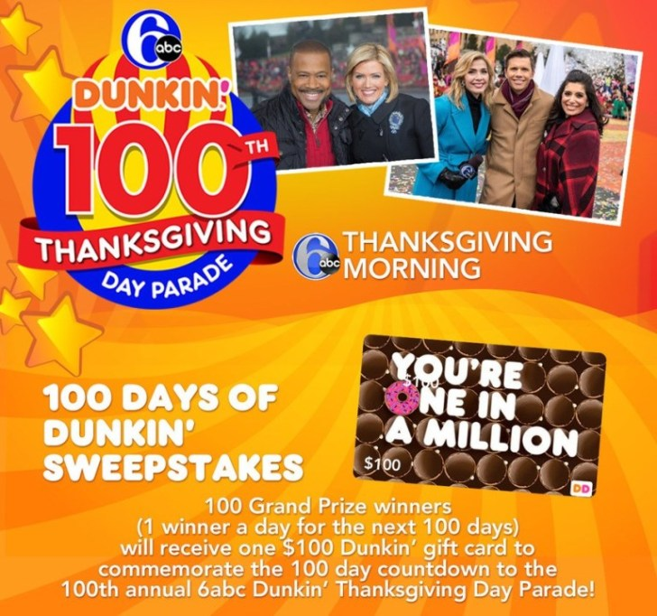 6 ABC 100 Days of Dunkin Sweepstakes