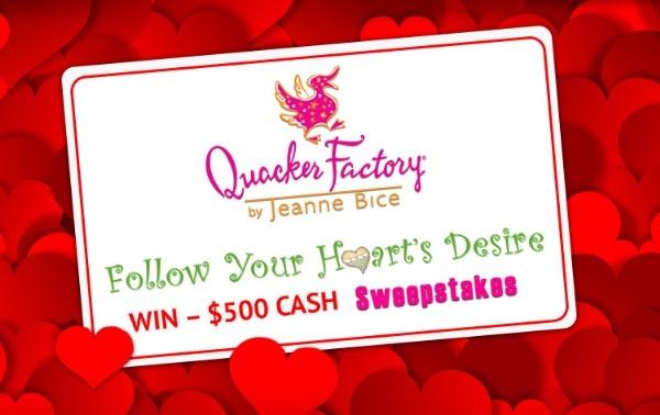 Quacker Factory Follow Your Hearts Desire Sweepstakes