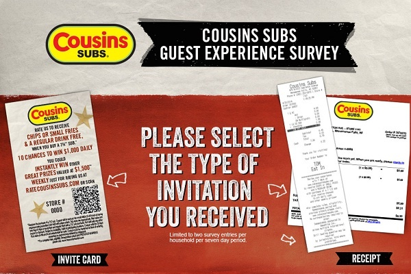 Cousins Subs Guest Survey Sweepstakes