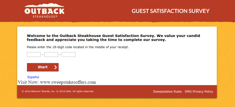 Tell Outback Steakhouse Guest Satisfaction Survey