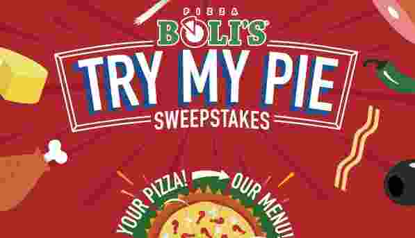 Pizza Bolis Try My Pie Sweepstakes - Win Cash Prizes