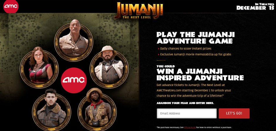 AMC Theatres Jumanji Ticket Game Sweepstakes - Win Tickets