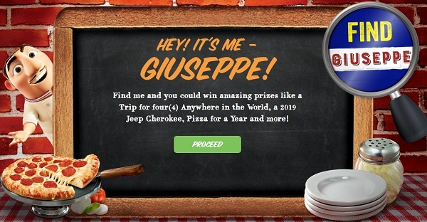 Find Giuseppe Contest - Win Cash Prizes