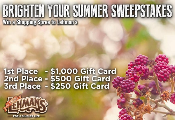 Lehmans.com Brighter Summer Sweepstakes