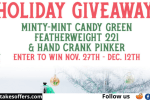 Minty Mint Featherweight Sewing Machine Giveaway